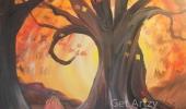 Fall Tree with Pumpkin