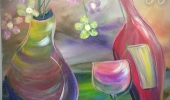 Abstract flowers &wine